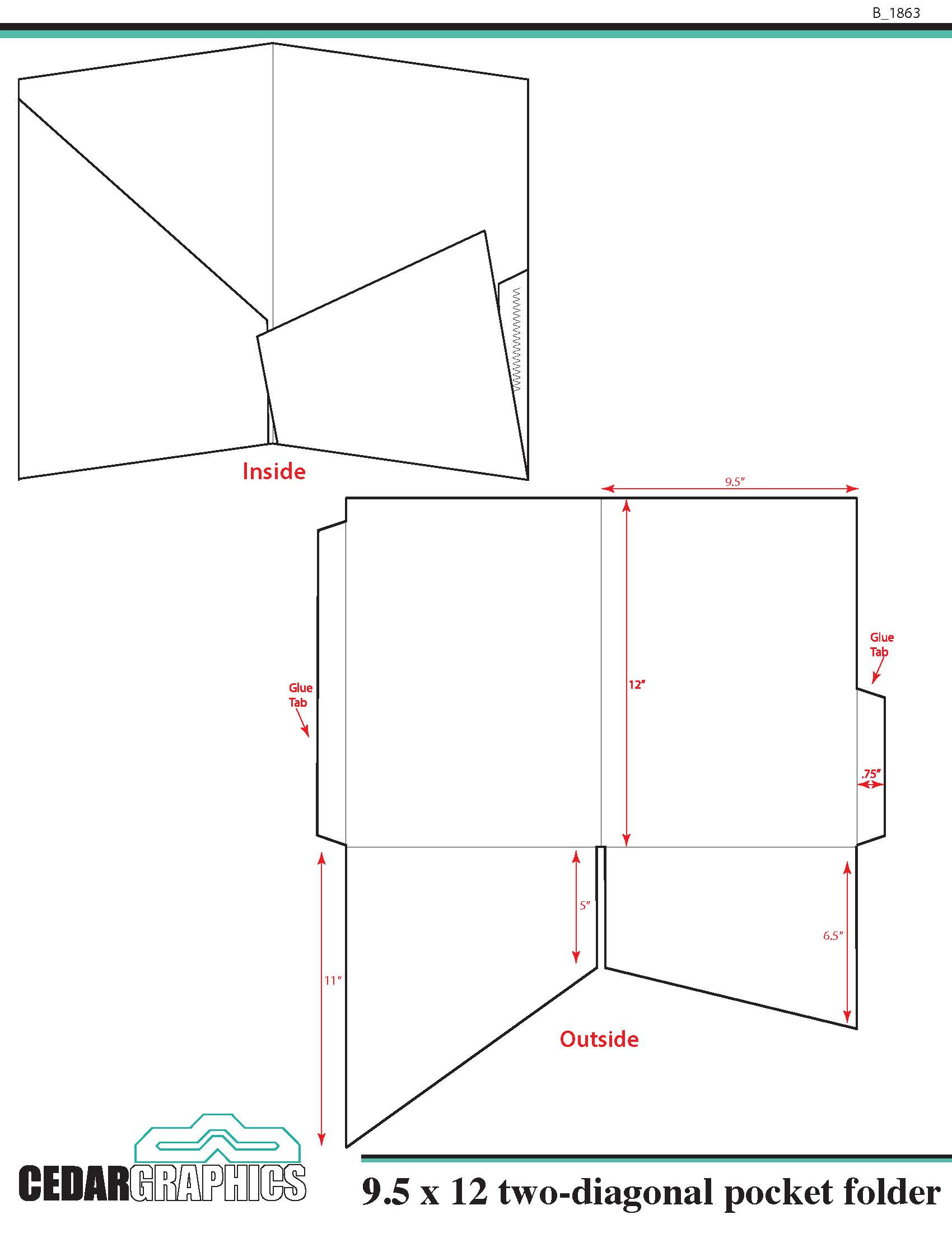 Pocket folder 95quot x 12quot two diagonal pocket template for Pocket folder template illustrator