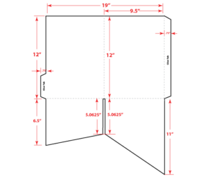 """9.5"""" Two Diagonal Pocket Folder Flat"""
